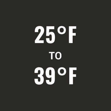 25 degrees Fahrenheit to 39 degrees Fahrenheit