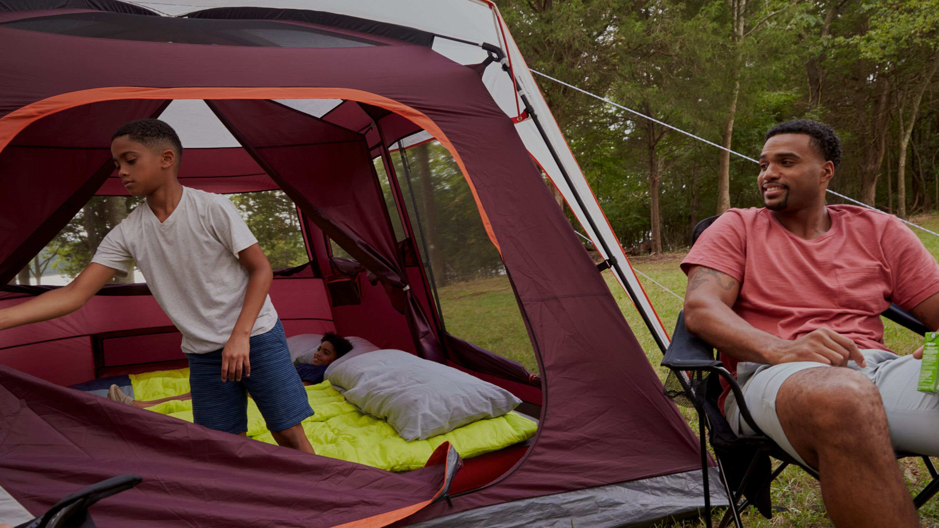Family with tent