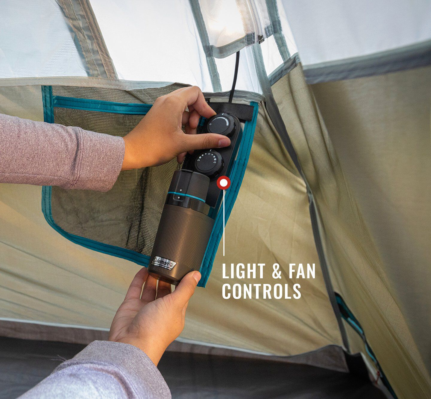 battery powered tent light and fan controls