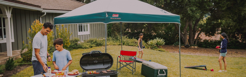 canopy assembled outside
