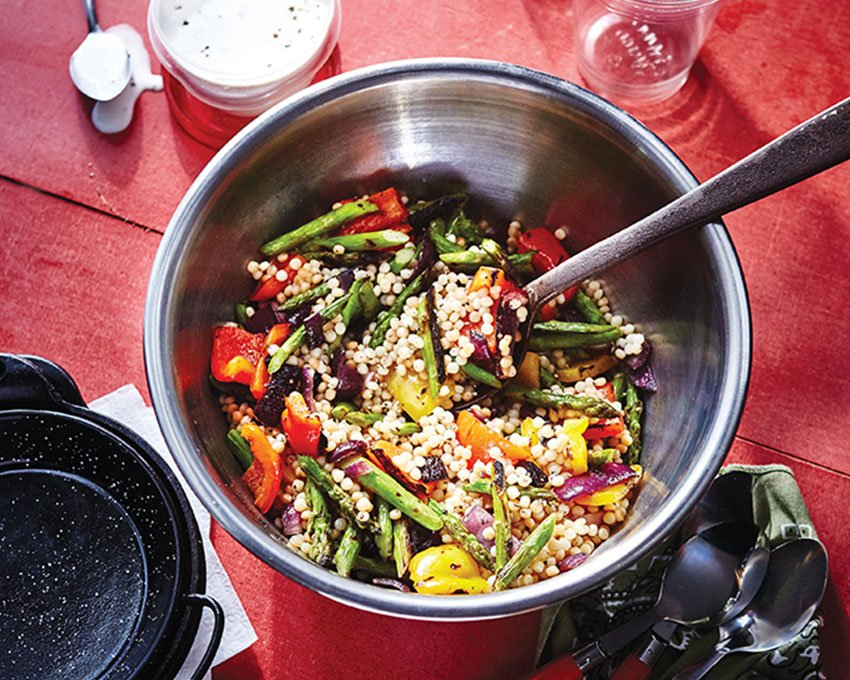 Toasted Couscous and Vegetable Salad with Lemon- Buttermilk Dressing