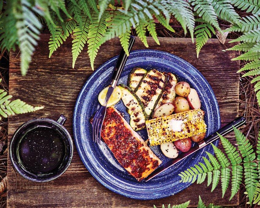 Mustard and Brown Sugar-Glazed Steamed Salmon